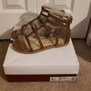 Hushpuppies Wide Leather Gladiator Sandals